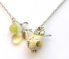 Silver Leaf Yellow Jade Quartz Porcelain Owl Necklace