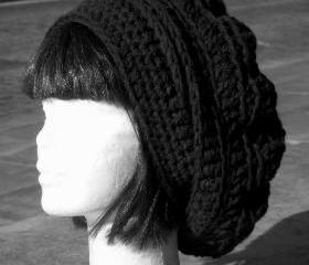 Slouch beret hat oversized black baby wool blend
