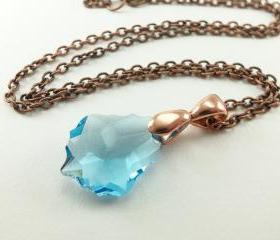 Aqua March Birthstone Necklace Aquamarine Necklace Antiqued Copper Necklace
