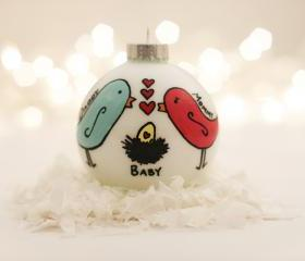 Pregnant/Expecting Ornament - Egg in Nest - Hand-filled & Hand-painted - Customizable colors/text