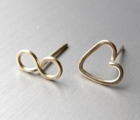Infinity Post Earrings, 14K Gold Infinity Studs, Gold Infinity Heart Post, Gold Heart Stud Earrings