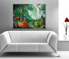24x17 Digital printed Canvas fantasy photo to your wall, colorful fairytale photo(size: 24x17 inch plus border).