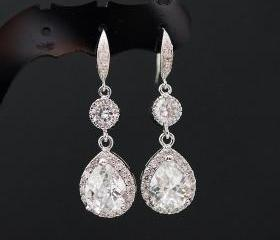 Wedding Bridal Jewelry Bridal Earrings Bridesmaid Earrings Dangle earrings clear white cubic zirconia Crystal Tear drops Earrings