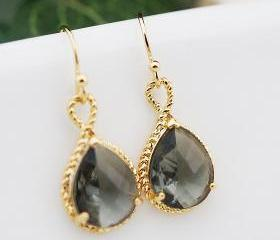 Wedding Jewelry Dangle Earrings Bridal Earrings Bridesmaid Earrings Black diamond grey glass Pear Cut Earrings