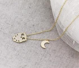 Tiny owl with crescent moon necklace 