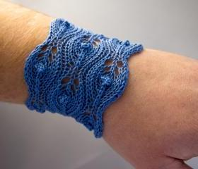 Mist Drops - Wide Lace Bracelet - Hand Knitted Cotton Lace Cuff