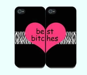 Best Bitches -- iphone 4 case in Pair,iphone 4s cover, in durable plastic case ,black or white case side