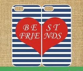 Stripe Best friends 2pcs -- iphone 5 case in black or white plastic by default, silicone also available