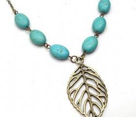 Antiqued Brass Leaf Green Turquoise Necklace