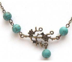 Antiqued Brass Branch Leaf Turquoise Necklace