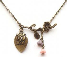 Antiqued Brass Branch Owl Necklace