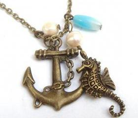 Antiqued Brass Anchor Seahorse Pearl Necklace