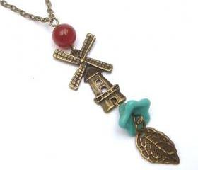 Antiqued Brass Leaf Windmill Czech Flower Agate Necklace