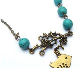 Antiqued Brass Branch Bird Turquoise Necklace