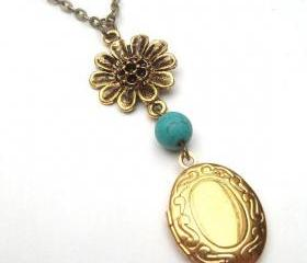 Antiqued Brass Locket Flower Green Turquoise Necklace