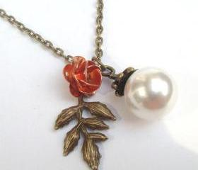 Antiqued Brass Leaf Flower Necklace