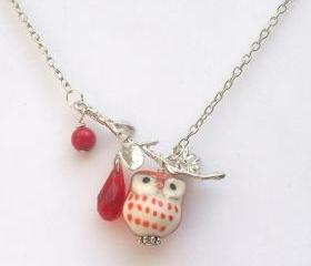 Silver Leaf Coral Quartz Porcelain Owl Necklace