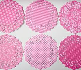 Parisian Lace Doily Berry Sorbet for Scrap booking or card making / pack 