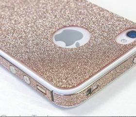 Sand colour Shiny Rhinestone Full Body Cover Skin Sticker Shield For iPhone 4S