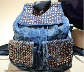 Punk rivet Denim Backpack