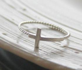 Sideways cross ring 6.5 size in white gold , twisted ringband , everyday jewelry, delicate minimal jewelry