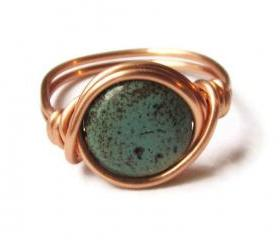 Boho Turquoise Ring Custom Size in Copper