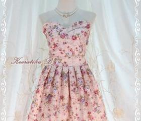 A Lovely Queen - Strapless Classic Cocktail Dress Pale Pink Playful Glamorous Floral Print Giant Bow Party Night Prom Wedding Bridesmaid