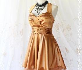 Cinderella Story II Goddess Cocktail Dress Asymmetric Hem Golden Satin Color Longer Gold Organza Lining S