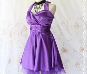 Cinderella Story II Goddess Cocktail Dress Asymmetric Hem Purple Satin Color Longer Organza Lining S