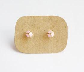 SALE - Lil Pink Cubic Cube Ear Stud Earrings - Gift under 10