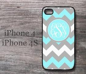 Personalized iPhone case tiffany blue and gray monogrammed chevron hard case for i phone 4 4S