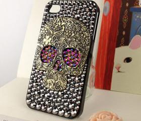 Skull Punk iPhone 4 4s Case Crystals Skull Steam Punk Chameleon Gold / Purple Studded Eyes Handmade iPhone 4 Case Studded Bling Rhinestone