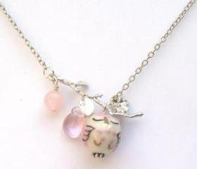 Silver Leaf Pink Jade Quartz Porcelain Owl Necklace