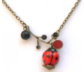 Antiqued Brass Leaf Agate Porcelain Ladybug Necklace