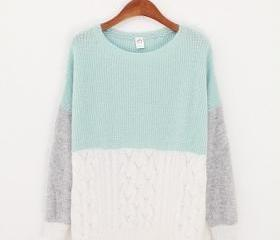 Three Colors Sweater - Mint & White & Grey