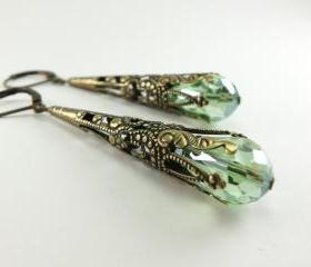 Peridot Green Earrings Long Dangle Earrings Brass Jewelry August Birthstone