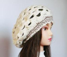 Cream wool beret crochet hat Teenager and women hat