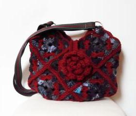 Crochet bag Shoulderbag purse claret blue leather strap