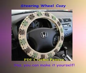 Crochet Pattern - Steering Wheel Cozy/Cover (4VC2013)