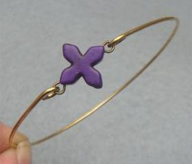 Purple Turquoise Cross Brass Bangle Bracelet