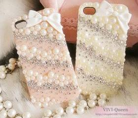 Bow iPhone case Pearl iPhone 5 case Crystal iPhone 5 case Bling iPone cases Pink White iPhone cover Custom Handmade Twill iPhone5