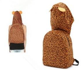 Leopard Ears Hooded Backpack