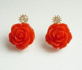 SALE Large Red Rose Earrings - Gift under 10