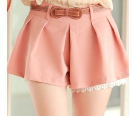 Women Pink Cotton Floral Hem Short Pant With Belt S/M@MF9891p