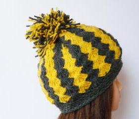 Chunky crochet hat yellow gray soft hat Pom pom hat