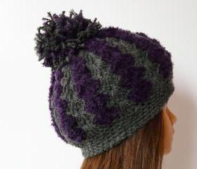 Chunky crochet hat eggplant gray soft hat Pom pom hat