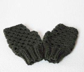 Graphite grey fingerless knitted crocheted Mittens Gloves
