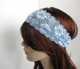 Winter Ice Stretch Lace Headband Frosty Blue Flowers Head Wrap Women's Hairband Hair Accessory
