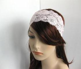 Stretch Lace Headband Pale Pink Roses Head Wrap Women's Hairband Hair Accessory