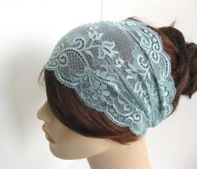 Wide Stretch Lace Headband Antique Blue Flowers Head Wrap Women's Hairband Fashion Hair Accessory